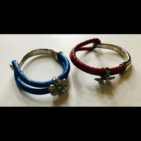 Two Talbots Braided Leather & Silver Bracelets